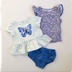 3-Item 12M Girl Summer T-Shirts & Bloomers Lot